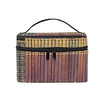多機能 コスメポーチ 本棚化粧品バッグの古い本の女性/女の子のためのポータブル大型トイレタリーバッグ旅行化粧バッグ
