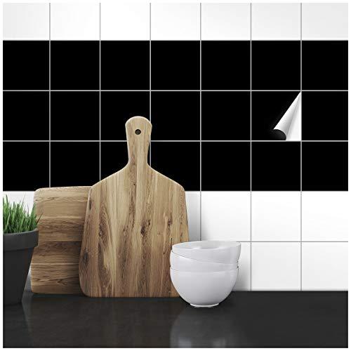 Wandkings Fliesenaufkleber - Wähle eine Farbe & Größe - Schwarz Seidenmatt - 10 x 10 cm - 100 Stück für Fliesen in Küche, Bad & mehr