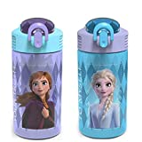 Zak Designs Disney Frozen 2 Kids Water Bottle Set with Reusable Straws and Built in Carrying Loops,...