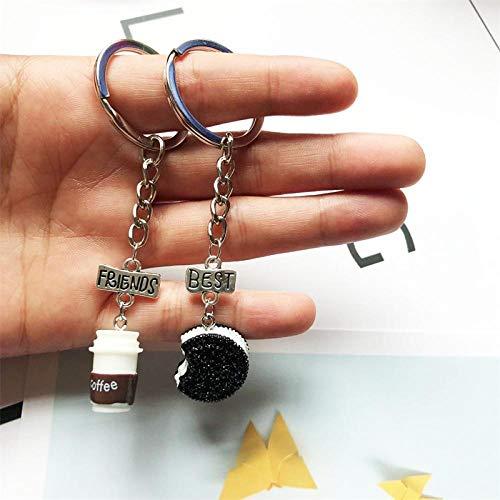 MWBLN Schlüsselbund,2 Stück/Set Mini Oreo Kekse und Kaffee Anhänger Schlüsselbund, Beste Freunde und Kinder Geschenk Freundlicher Schlüsselring Stil-1