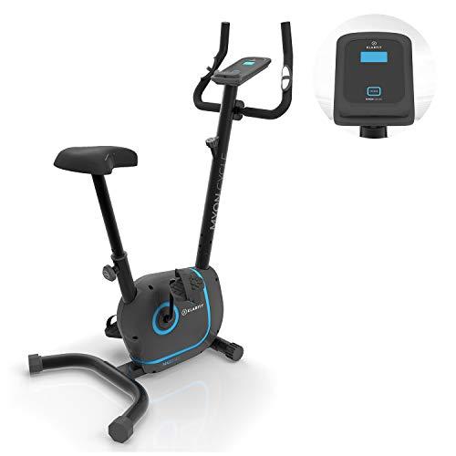 Klarfit Myon Cycle - Bicicleta estática, Volante de inercia de 12kg, Tracción por Correa con tecnología Silent Belt, 8 Niveles, Pulsómetro, Altura Regulable, Soporte para Tablet, Negro