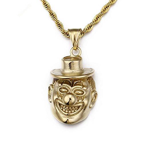 Anhänger Halskette Hip Hop Clown Anhänger Halskette Herren Edelstahl Gold Silber Harlekin Clown Mit Kappe 60Cm Gliederkette Halskette Schmuck Kp77016-K