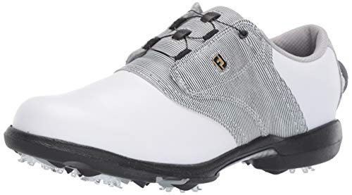 FootJoy Women's DryJoys Boa Previous Season Style Golf Shoes, White/Black Print, 9.5 M US