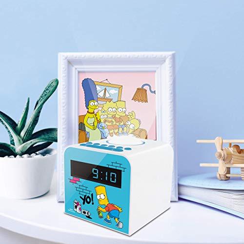 METRONIC 477443 Radio réveil veilleuse enfant Bart Simpson - bleu et blanc Bleu
