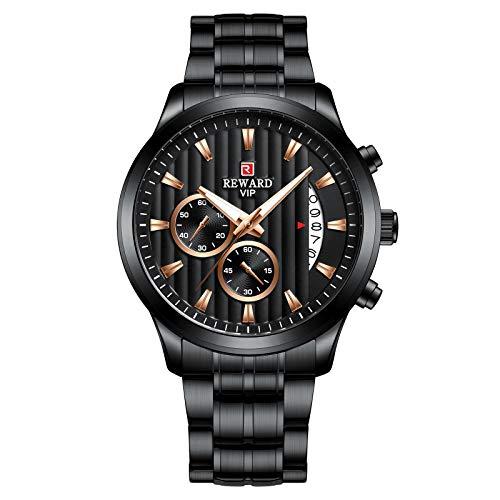 CXJC Relojes mecánicos para hombres con esfera redonda de 44 mm, relojes de negocios para hombres hechos de acero inoxidable y relojes deportivos para hombres con calendario luminoso impermeable multi