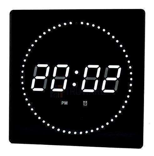 LED Wanduhr Weiß Rund Temperatur Wecker Datumsanzeige Wandmontage Studiouhr Digitaluhr