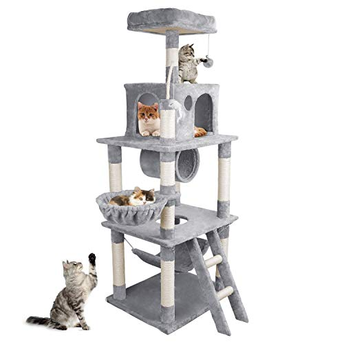 OOTORI Cat Tree Condo Furniture Kitten Activity Tower, Pets Furniture for Kittens with Sisal-Covered Scratching Posts and 2 Plush Condos