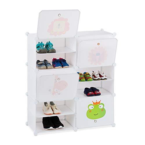 Relaxdays Schuhregal Kinder, 12 Fächer für 24 Paar, Tiermotive, erweiterbares Steckregal HxBxT: 95 x 84 x 31,5 cm, weiß