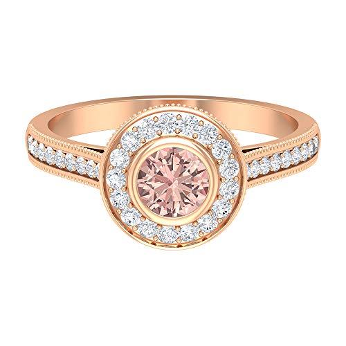 Anillo de compromiso con halo de morganita creado en 1 quilates con diamante, anillos vintage para mujer (5 mm de corte redondo de morganita), oro de 14 quilates