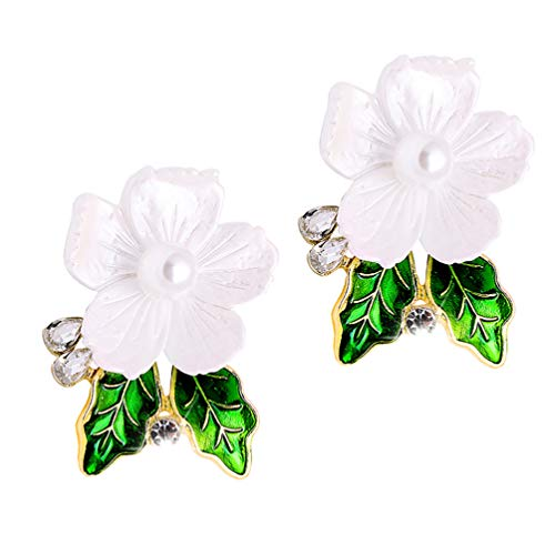 SOIMISS 2Pcs Alloy Shell Pearl Flower Brooch Pin Rhinestones Safety Pin Badge Clip Festive Corsages Breastpin Clothes Buckles for Holiday Spring Easter Party Favor