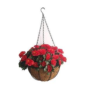 Silk Flower Arrangements Bo Lala Chain Hanging Basket Flowerpot Artificial Rhododendron Flower Silk Flowers Azalea (9.85 inch)