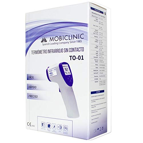 Mobiclinic, TO-01 Contactless Digital Thermometer, Laser Thermometer, Infrared Sensor, Fever Alarm, Digital Reading, LCD Screen, Blue