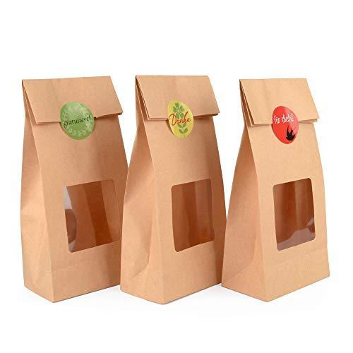 ewtshop® 48 Kraftpapiertüten mit Sichtfenster, Format 27x 10,5 x 6,5 cm, Geschenktüten für Kekse, Knabberein, Kuscheltiere oder viele andere Geschenke