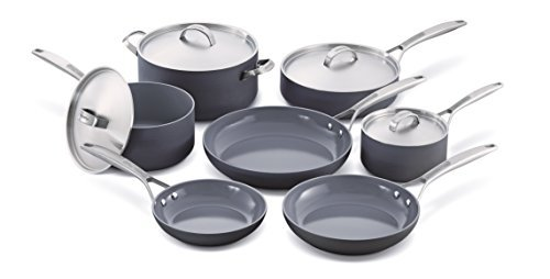 Cookware company GreenPan Paris 11 Pezzi anodizzato Duro Non-Stick Ceramic Cookware Set by The