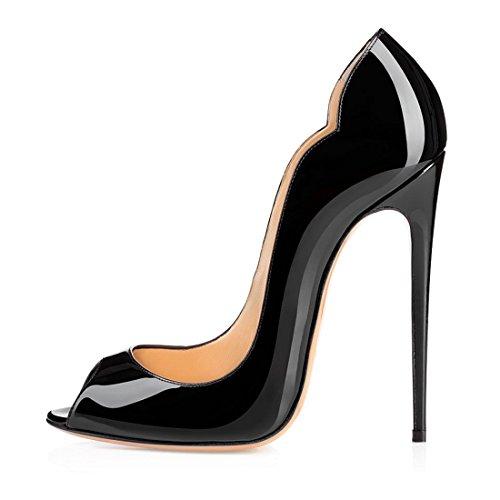 Soireelady Damen Peep Toe Pumps,Stilettoabsatz High Heels,Übergröße Lack Schuhe Schwarz 43