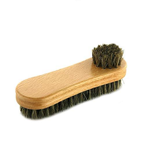 VASGO Schuhputzbürste, Borstenbürsten und Buchenholzgriff, 15 cm, für Schuhe, Stiefel und andere Lederpflege