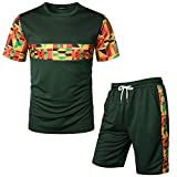 LucMatton Men's African Pattern Printed T-Shirt and Shorts Set Sports Mesh Tracksuit Dashiki Outfits Army Green X-Large