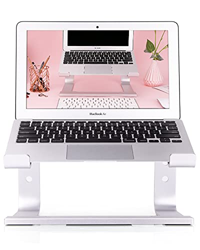 RAINBEAN Soporte para computadora portátil, mesa para computadora portátil Soporte de escritorio desmontable compatible con MacBook Air Pro, Dell, computadoras portátiles plateadas