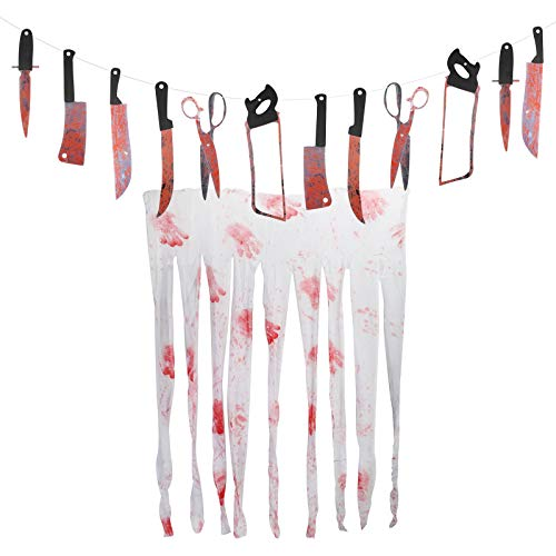 TAZEMAT Scary Halloween Banners Weapons Prop Bloody Garland Knife Decorations 220CM Blood Handprint Curtain 160 X 100CM Zombie Vampire Entertainment Themed Party Indoor Outdoor Decor
