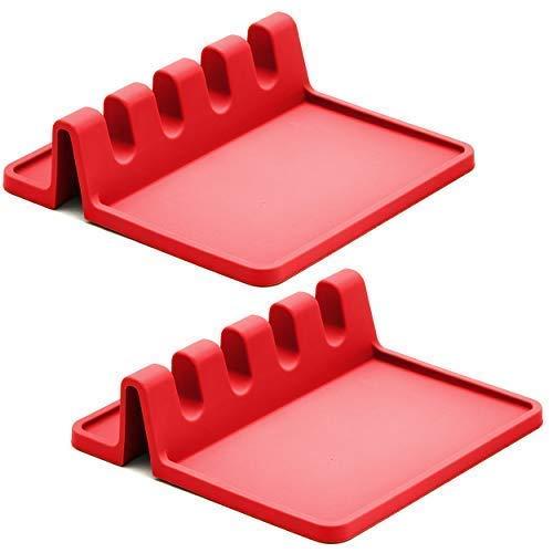 Reposapiés de silicona roja para encimera de cocina con almohadilla de goteo (paquete de dos) - Resistente al calor, sin BPA y soporte de cuchara para encimera de cocina - Soporte para utensilios de parrilla para espátulas, pinzas, cucharones