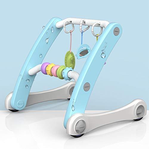 MICROSHE Gehfrei Walker 2-IN-1-faltbare Baby-Push-Walker Fitness Rack-Lernen Step Helper Toy Einstellbare Höhe und Geschwindigkeit for Schätzchen über 2 Monate (Farbe : Blau, Größe : 436X506X428MM)