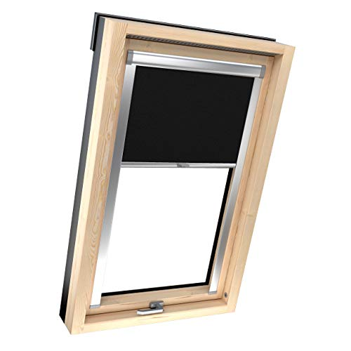 4dekor Dachfenster Rollo für Velux P06/406, Schwarz, Dachfenster verdunkelung, Rollo für dachfenster, Thermo Rollo, Verdunklungsrollo mit führungsschiene, 100% Sonnenschutz