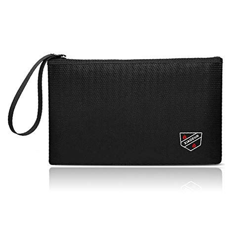 XIAODUNFireproof Money Bag,Bank Bag Fireproof and Waterproof Cash Bag with Zipper Closure, Fireproof Safe Storage Bag Envelope, Suitable for documents, Bank Inventory, Passport… (Black, M)