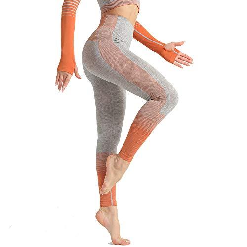 YLBH Schnelltrocknende Fitnesshose FüR Damen Aus Hochelastischer, Eng Anliegender SporthüFte Und Yogahose Mit HüFte Sporthose Damen Yogahosen FüR Damen Orange L