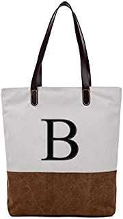 [ INITIAL - A to Z ] Embroidered Monogram Name Duotone BROWN Women Casual Canvas Shoulder Bag Messenger Zipper Tote Bags