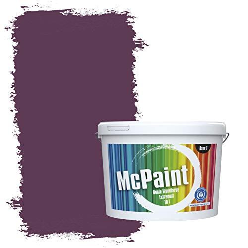 McPaint Bunte Wandfarbe extramatt für Innen Aubergine 10 Liter - Weitere Violette Farbtöne Erhältlich - Weitere Größen Verfügbar