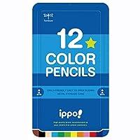 トンボ鉛筆 色鉛筆 ippo! スライド缶入 12色 プレーン Blue CL-RPM0412C