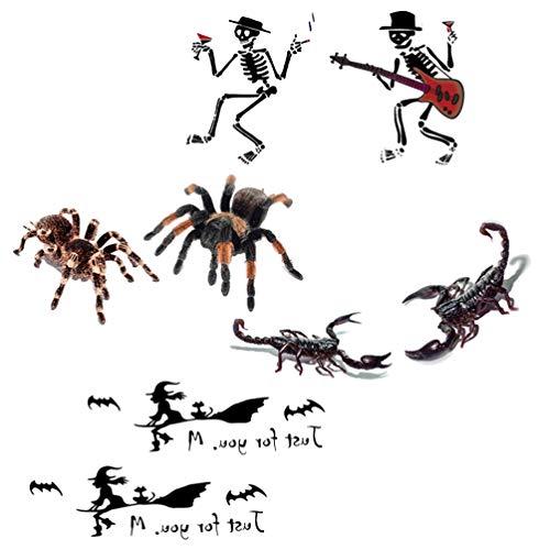 Amosfun 4 stks Tijdelijke Tattoo Stickers Spin Schorpioen Waterdichte Lichaam Tattoo Halloween Heks Schedel Tattoo Feestartikelen
