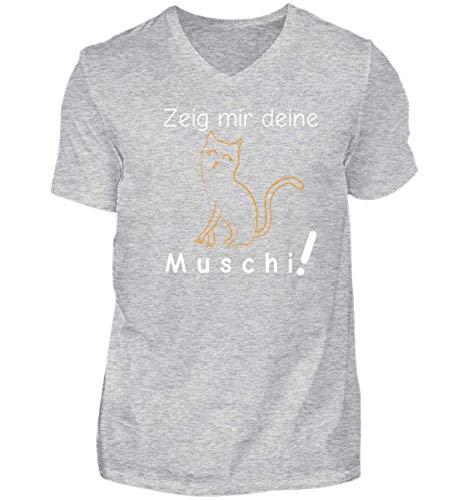 Zeig Mir Deine Muschi (Katze)   Katzenliebhaber Katzenfreunde Katzen-Freunde Geschenk - Herren V-Neck Shirt