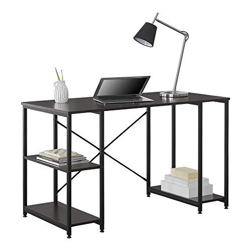 [en.casa] Mesa Escritorio Aarhus Escritorio de Ordenador 75 x 120 x 60 cm con 3 estantes Mesa de Oficina Negro y Color Nogal