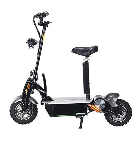 E Scooter 2000W Falten E Roller 60V Elektrofahrrad mit Sitz Max Geschwindigkeit 45km/h Metro Scooter Chaos Mars Scooter Elektroroller Erwachsene (schwarz)
