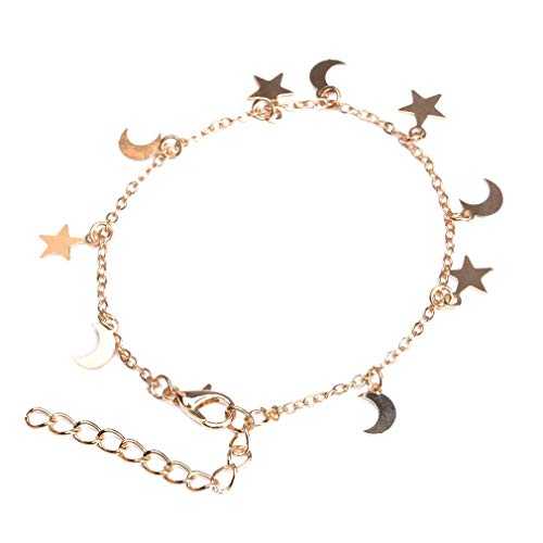 PULABO Stars Moons Bracelet Adjustable Ankle Chain Elegant Charms Bracelet Women Christmas Birthday Gift,Gold Durable and UsefulSafety