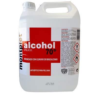 Alcohol etilico antiseptico con benzalconio 70° MONTPLET Envase 5 Litros. Etanol.Producto registrado.