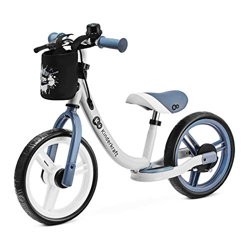Kinderkraft Laufrad SPACE, Lernlaufrad, Kinderlaufrad, Baby Kinderrad mit Zubehör, Klingel, Tasche für Kleinigkeiten, Handbremse, Fußstütze, begrenzte Lenkeinschlag, 12 Zoll Räder, ab 2 Jahre, Blau