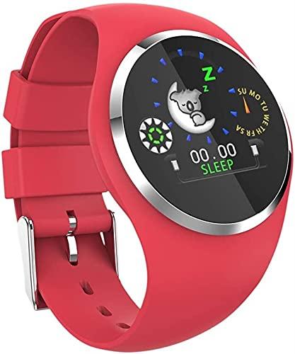 TCHENG Color Ritmo cardíaco Monitor Inteligente Pulsera presión Arterial smartwatch podómetro Deporte Gimnasio Relojes Inteligente Pulsera Hombres Mujeres (Color : Red)