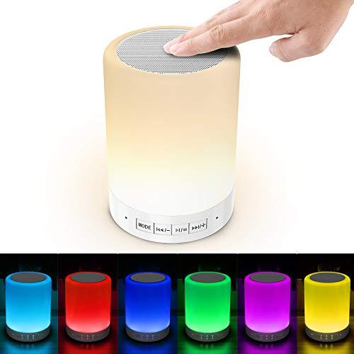 Luces nocturnas Altavoz Bluetooth, Lámpara de Mesita de Noche,Lámpara LED de control táctil Regulable Luces cálidas 7 colores, Lámpara de cabecera con USB lámpara de noche recargable portátil