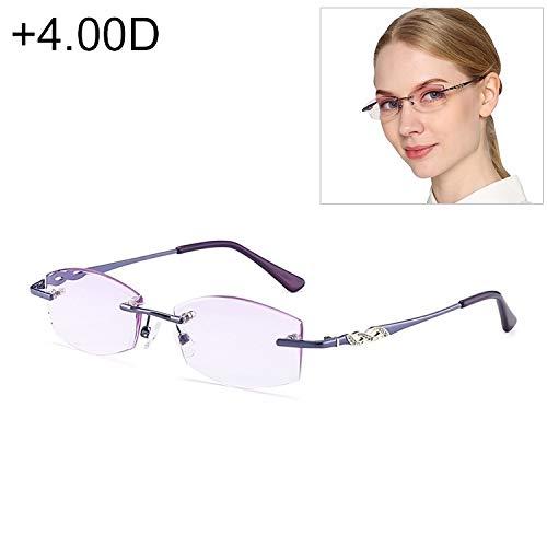 JSANSUI voordelige leesbril vrouwen randloos strass getrimde lila Presbyopie bril, (+ 4.00D)