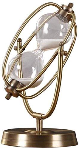 Equipo de vida Estatuas Artículos de decoración Esculturas Figuras Estatua Arte de hierro creativo Forma de globo Reloj de arena Bola de cristal decorativa Reloj de arena Adorno de tiempo retro Regalo