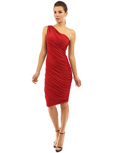PattyBoutik Women One Shoulder Cocktail Dress (Red X-Large)