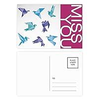 抽象的なカラフルな折り紙のハトのパターン ポストカードセットサンクスカード郵送側20個ミス