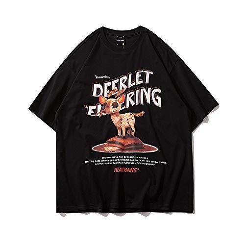 DREAMING-Sudaderas de Verano de Manga Corta, Camisetas de algodón de Cuello Redondo Estampadas Sueltas para Hombres y Mujeres, Camisas de Pareja Black X-Large