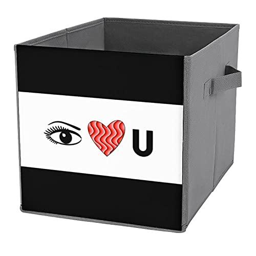 Cajas de almacenamiento plegables, con diseño con texto 'I Love You', para juguetes, estantes, ropa, libros
