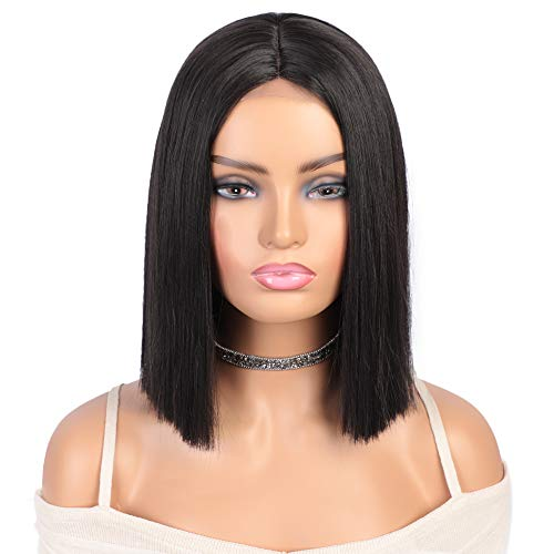 AISI BEAUTY Bob Wig Synthetic Short Hair Wigs for Women 12'' Black Straight Bob Wigs Middle Part Shoulder Length Hair