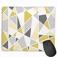 マウスパッド ゲーミング 黄色と灰色の四角形の幾何学模様の滑り止めラバーベースのマウスパッドゲームおよびPCとラップトップ用のオフィスマウスパッド9.8 X 11.9インチ