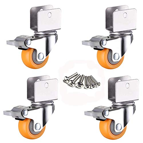 Ruedas giratorias para muebles pequeños, 360 grados;Ruedas giratorias, ruedas giratorias móviles de 1,5 pulgadas, rueda para carro de bebé, rueda de nailon PA de 38 mm, con soporte en forma de U, ca