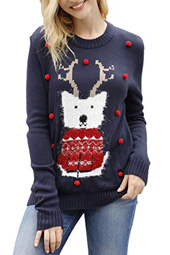 Sovoyontee Women Fox Knit Funny Hilarious Ugly Christmas Sweater Navy Blue-Fox Medium